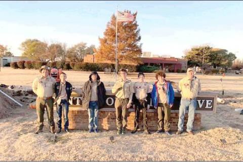 TROOP 196 Members who helped with a recent project at Center of Family Love include, from left, David Johnson, Jayden Atkins, Landon Eaton, Michael Johnson, Matthew Miller, Elijah Johnson and Brian Miller. Andrew Osborn also worked on the project, but is